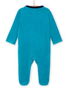 Grenouillère bleu turquoise en velours motif oursons bébé garçon MEGAGREOUR / 21WH1484GRE202