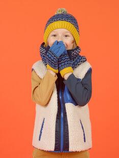 Bonnet à pompon bleu motif jacquard enfant fille MYOGROBON6 / 21WI0268BON221
