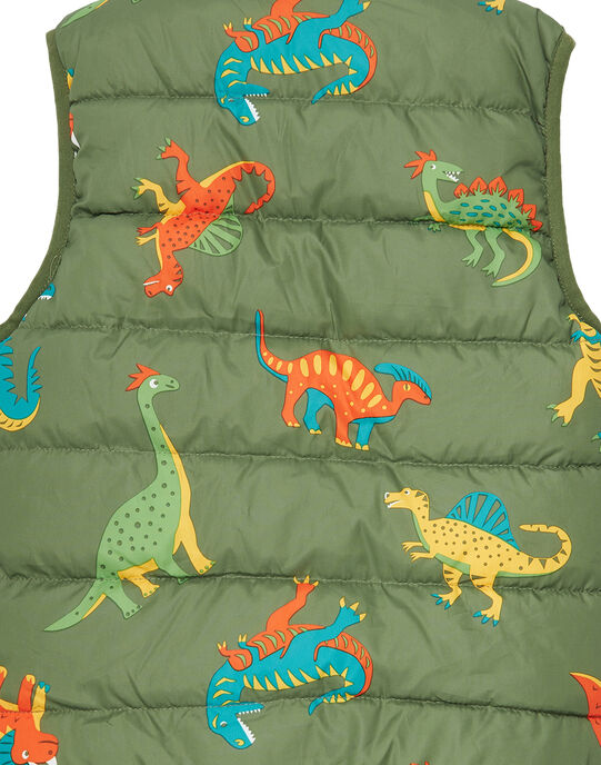 Doudoune sans manche réversible garçon imprimée dinosaure JOGROBLOU2EX / 20S902I7BLO604