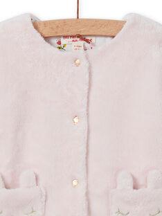 Cardigan réversible rose pâle bébé fille MIJOCAR2 / 21WG0912CAR632