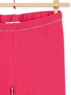 Legging uni rose enfant fille LYAJOSLEG1 / 21SI0142CALF507