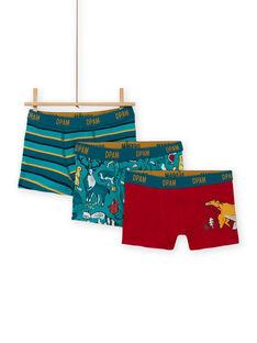 Lot de 3 boxers assortis motifs dinosaures enfant garçon MEGOBOXCANA / 21WH12C1BOX714