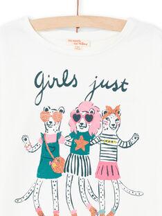 T-shirt manches longues écru à motifs animaux fantaisie enfant fille MAKATEE4 / 21W901I3TML001