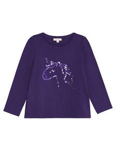 T-shirt manches longues,  licorne en sequins ton sur ton KAJOTEE4 / 20W90132D32711