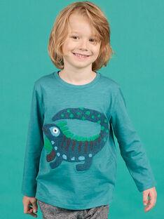 T-shirt manches longues bleu à motif iguane enfant garçon MOTUTEE5 / 21W902K2TMLC239