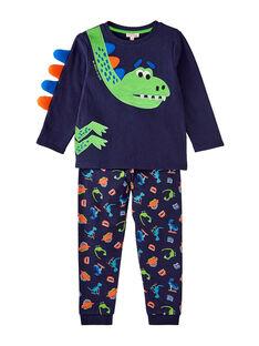 Pyjama bleu nuit dinosaure phosphorescent enfant garçon JEGOPYJDINO / 20SH12C1PYJ705