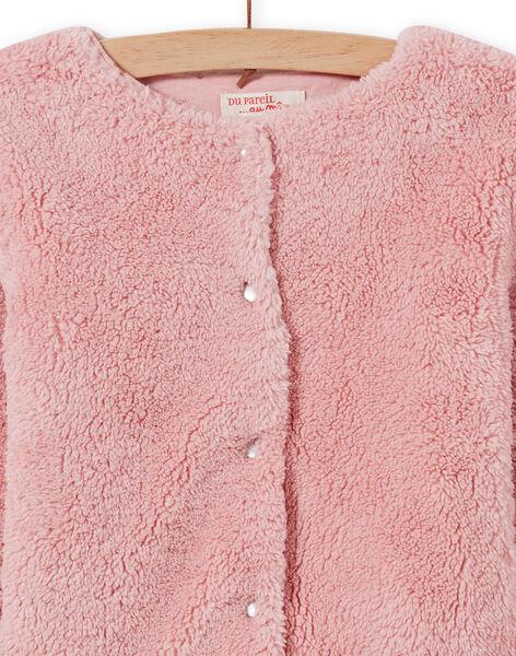 Cardigan réversible rose pâle en fausse fourrure enfant fille MAJOCARF3 / 21W90112CAR312