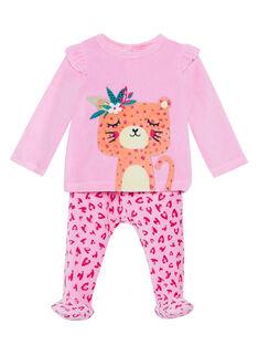 Pyjama bébé fille en velours rose JEFIPYJTIG / 20SH13C1PYJD301