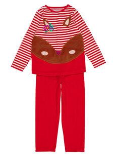 Pyjama rouge à rayures en velours enfant fille GEFAPYJBI / 19WH11N2PYJF512