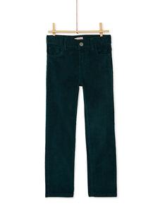Pantalon vert en velours cotelé garçon KOJOPAVEL2 / 20W90252D2BG614