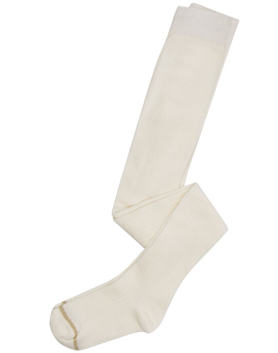 Collant en coton à côtes fille écru JYAESCOL3 / 20SI0161COL001