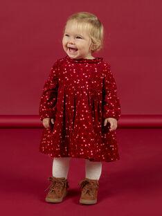 Robe col volanté lie-de-vin à pois colorés bébé fille MIFUNROB3 / 21WG09M2ROB504