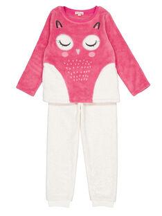 Pyjama rose et écru en soft boa enfant fille GEFAPYJET / 19WH11NAPYJD330