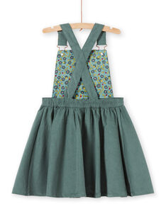 Robe salopette vert kaki broderies fleurs enfant fille MAKAROB4 / 21W901I4ROB626