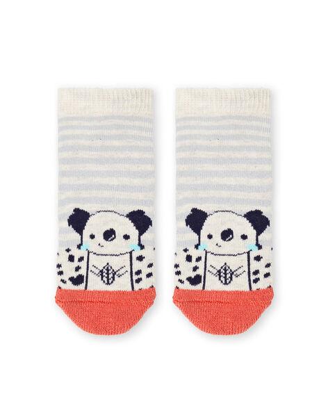 Chaussettes beige chiné et rouge à rayures bébé garçon LYUPOECHOB2 / 21SI10Y2SOQA011
