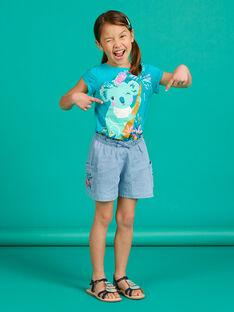Short en jean bleu clair enfant fille LAVERSHORT1 / 21S901Q1SHOP272