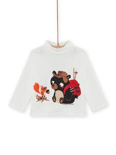 Sous-pull écru à motifs ourson et écureuil bébé garçon MUFUNSOUP / 21WG10M1SPL001