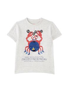 Tee shirt garçon manches courtes  gris chiné clair crabe JOCEATI2 / 20S902N2TMCJ920