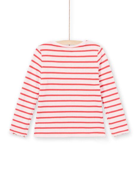 T-shirt réversible manches longues rayures et fleurs enfant fille LAROUTEE3 / 21S901K3TMLD326