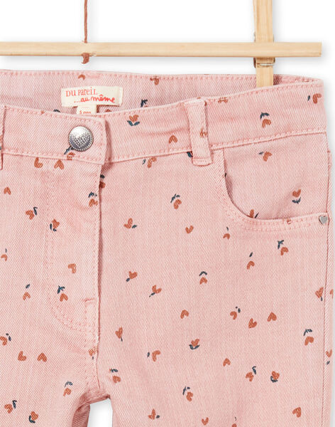 Pantalon rose imprimé fleuri enfant fille MAJOPANT2 / 21W90122PAN312