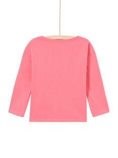 T-shirt manches longues rose à motifs léopards enfant fille MAKATEE2 / 21W901I1TMLD305