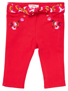 Pantalon droit matière stretch bébé fille JIVIPAN / 20SG09D1PAN330