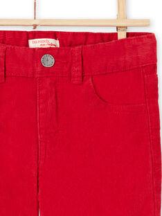 Pantalon rouge en velours enfant garçon MOJOPAVEL3 / 21W90212PANF508