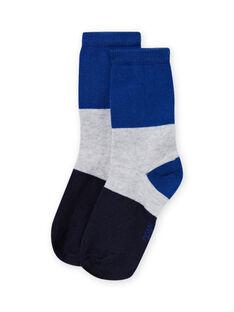 Chaussettes bleues tricolores enfant garçon MYOJOCHOC1 / 21WI0217SOQ701