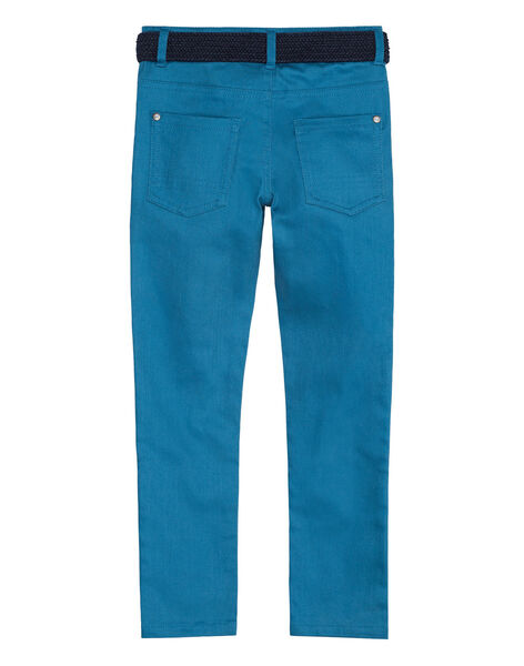Pantalon 5 poches en twill bleu clair garçon avec ceinture marine en corde JOJAPANT1 / 20S902B1PANC235