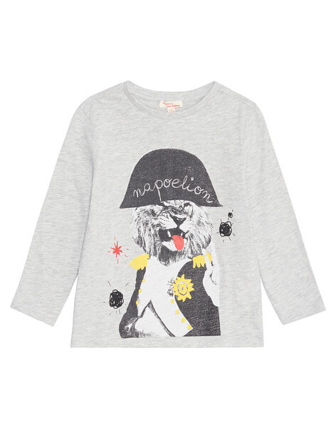 Tee shirt manches longues gris chiné enfant garçon KOJOTEE2 / 20W90237D32943