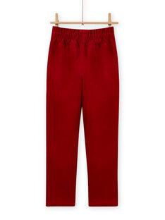 Pantalon style paperbag velours côtelé rouge enfant fille MAFUNPANT2 / 21W901M1PANF504