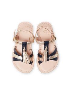 Sandales multi-brides en cuir or et marine avec pompons enfant fille LFSANDLOUISE / 21KK355PD0E954