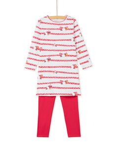 Chemise à nuit enfant fille imprimé chien et legging KEFACHUDOG / 20WH11B1CHN001