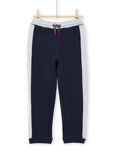 Jogging bleu marine et gris chiné enfant garçon MOJOJOB1 / 21W90214JGB705