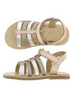 Sandale en cuir bébé fille CBFSANDGLI / 18SK37W3D0E954