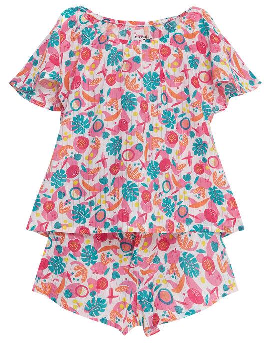 Pyjama court enfant fille imprimé tropical JEFAPYJ7 / 20SH11U6PYJ000