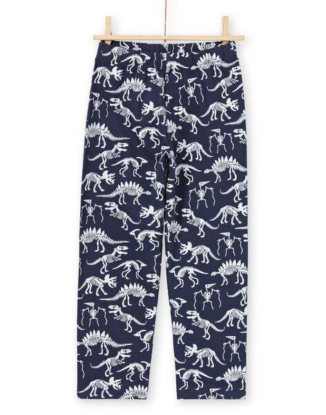 Pyjama phosphorescent bleu nuit à motifs dinosaures enfant garçon MEGOPYJGLOW / 21WH1236PYJ705