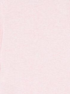 Body manches longues rose chiné motif chat LEFIBODCOU / 21SH132ABDLD314