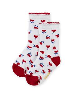 Chaussettes écrues imprimé cœurs bébé fille MYIMIXSOQB / 21WI09J1SOQ001