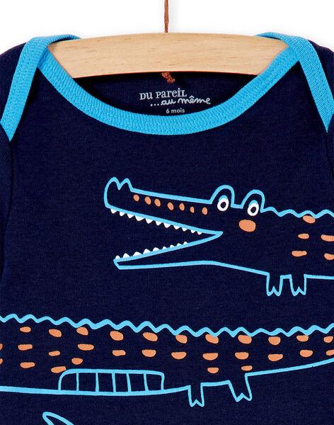 Body layette garçon manches longues motif crocodile KEGABODCRO / 20WH14T3BDL070