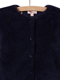 Cardigan réversible bleu nuit fausse fourrure enfant fille MAJOCARF1 / 21W90114CARC205
