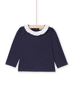 T-shirt bleu marine et blanc bébé fille MIJOBRA3 / 21WG0913BRA070
