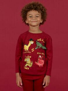 T-shirt manches longues rouge bordeaux motifs dinosaures enfant garçon MOFUNTEE3 / 21W902M2TML511