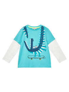 Tee shirt garçon effet doubles manches longues turquoise et ecru JOCLOTEE1 / 20S90211TML209