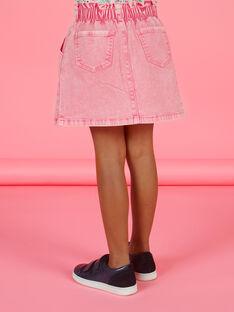 Jupe paperbag en jean rose effet acid wash enfant fille MAKAJUP1 / 21W901I1JUPD305