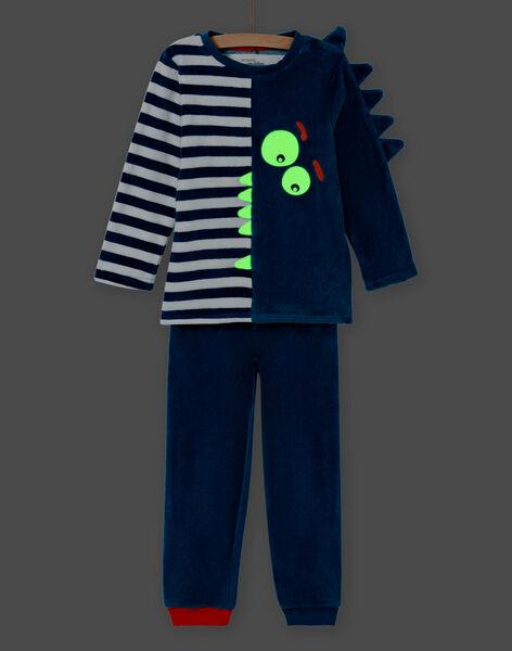Ensemble pyjama phosphorescent bleu motif crocodile enfant garçon MEGOPYJVER / 21WH1231PYJC225