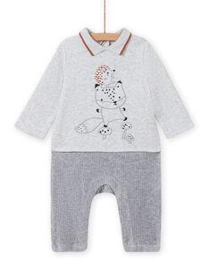 Combinaison gris chiné motif renard et hérisson naissance garçon MOU1COM3 / 21WF0441CBLJ920