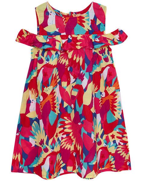 Robe sans manches colorée imprimé perroquet enfant fille JAMAROB1 / 20S901P2ROB000