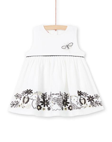Robe blanche en velours bébé fille LIPOEROB1 / 21SG09Y2ROB001