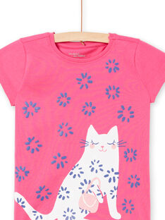 Pyjama T-shirt et pantalon fuchsia et blanc enfant fille LEFAPYJWAXEX / 21SH115DPYJ030